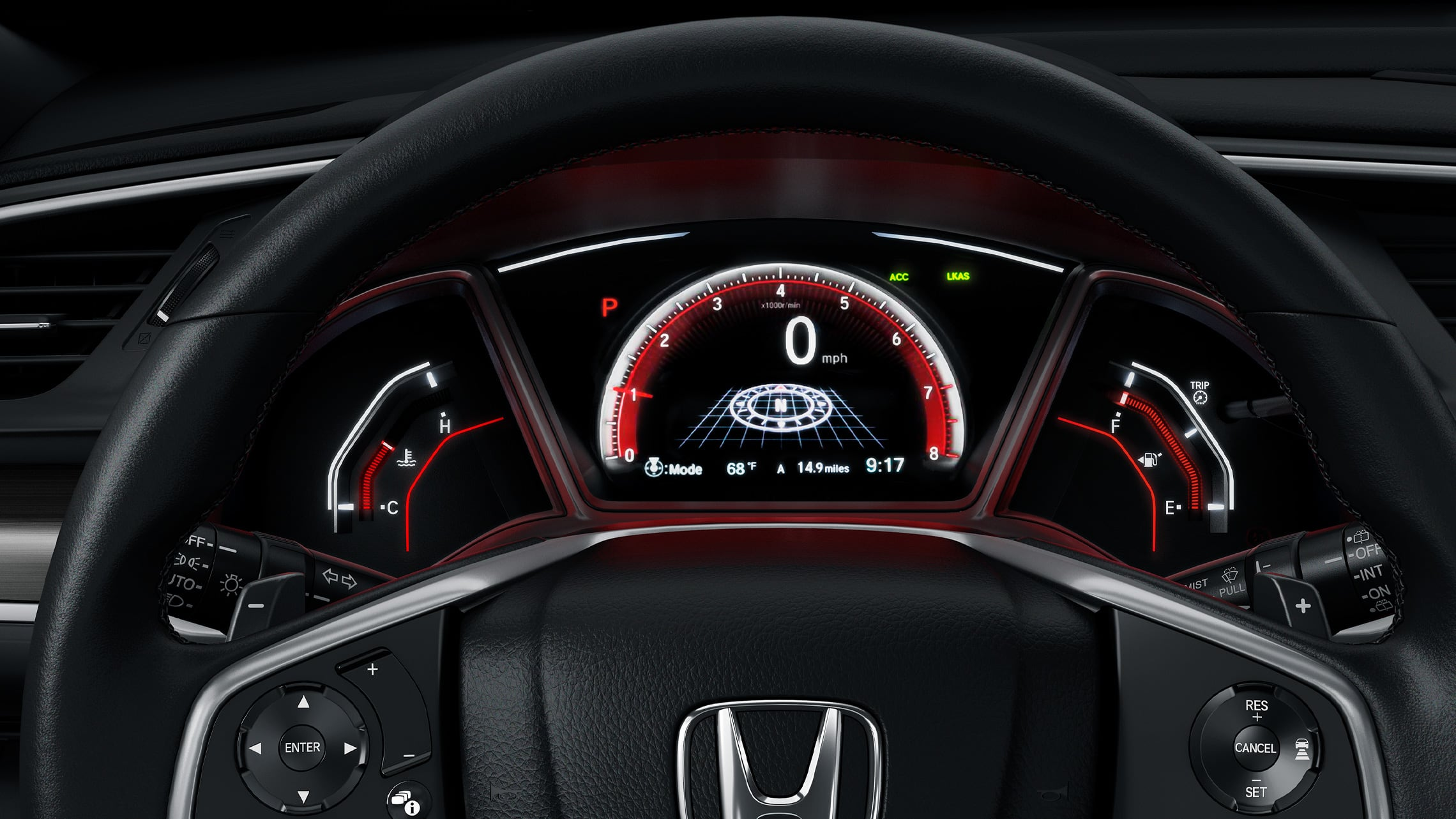 Interior view of steering wheel and dash in the 2021 Honda Civic Sport Touring Hatchback with Black Leather.