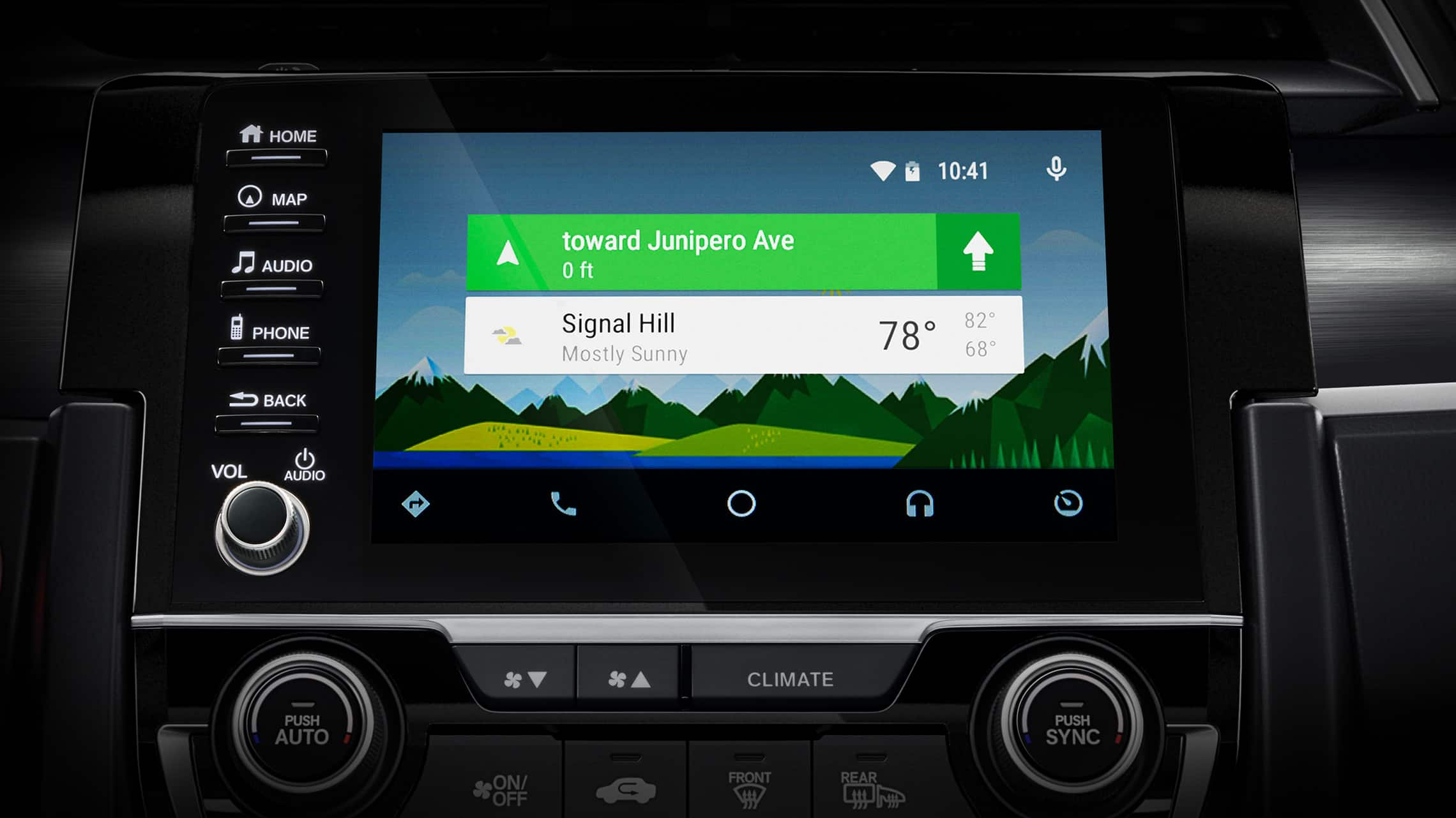 Android Auto™ screen detail on Display Audio touch-screen in the 2021 Honda Civic Sport Touring Hatchback.