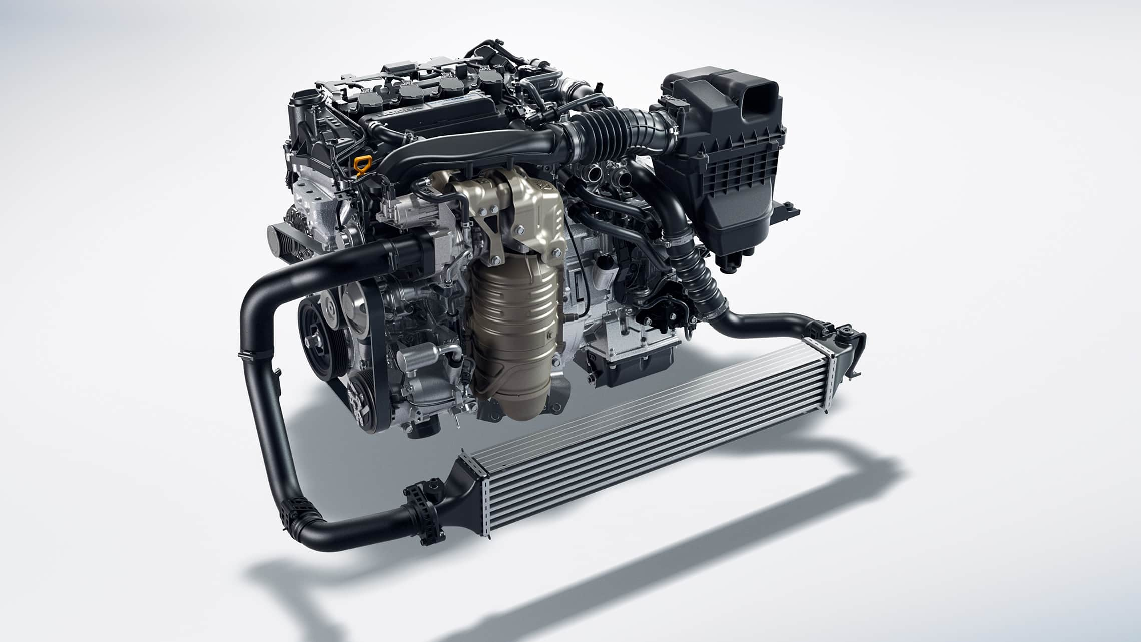 1.5-liter turbocharged and intercooled 4-cylinder engine for the 2021 Honda Civic Touring Sedan.